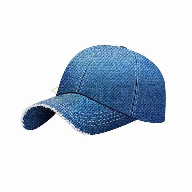 逼真的牛仔布风格棒球帽鸭舌帽休闲帽子png图片素材