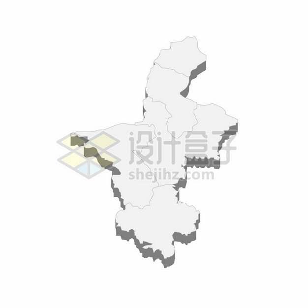 宁夏回族自治区地图3D立体阴影行政划分地图226077png矢量图片素材