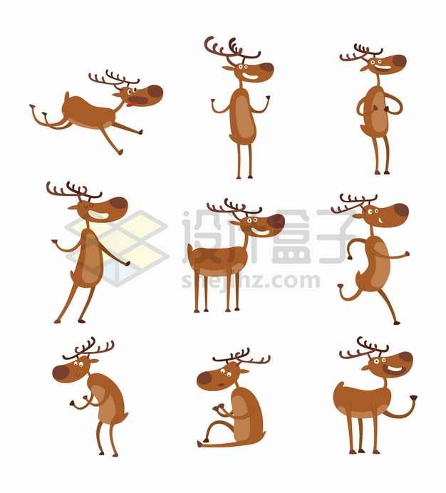 9款可爱的卡通驯鹿细胳膊细腿儿png图片素材