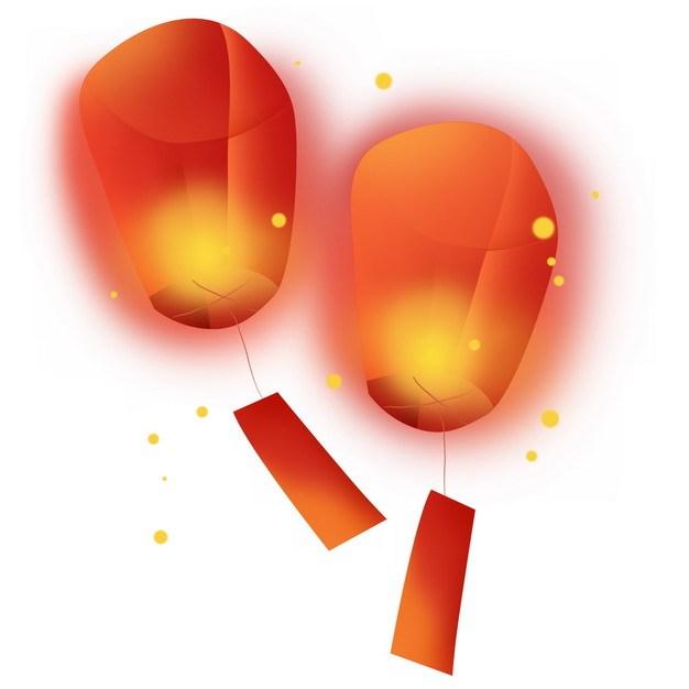 两个发光的红色灯笼孔明灯254003png图片素材 节日素材-第1张