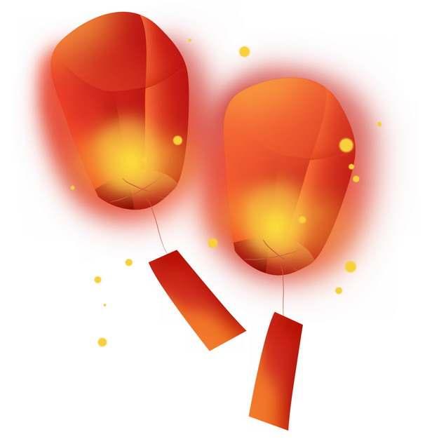 两个发光的红色灯笼孔明灯254003png图片素材