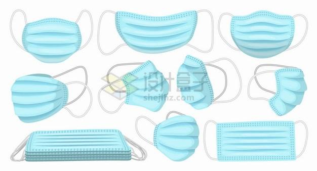 各种角度的蓝色一次性医用口罩棉布口罩纱布口罩png图片素材 健康医疗-第1张