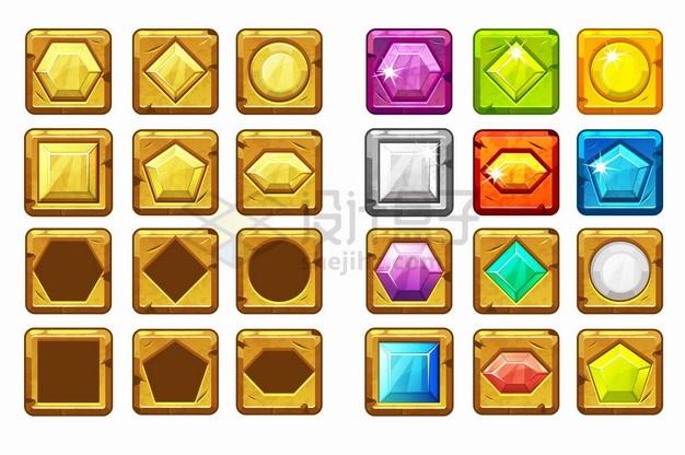 24款彩色卡通游戏宝石圆角按钮png图片素材 UI-第1张