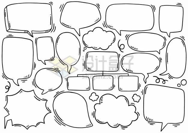 黑色线条手绘卡通对话框思维导图png图片素材
