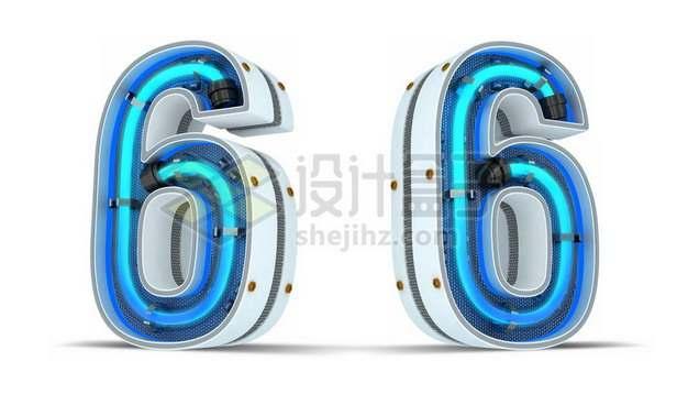 C4D风格蓝色霓虹灯管3D立体数字六6艺术字体416992psd/png图片素材