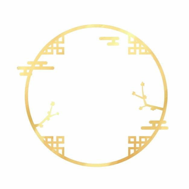 金色中国风圆形边框438956png图片素材 边框纹理-第1张