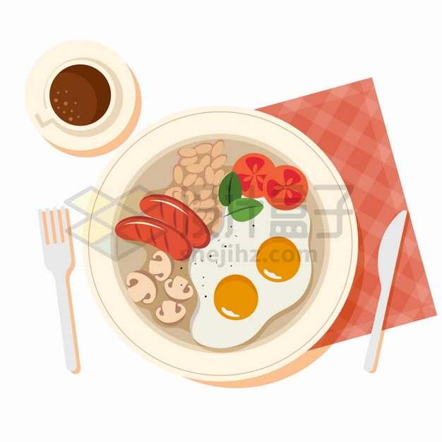 盘中的煎香肠煎蛋蘑菇西红柿等美味早餐美食png图片素材