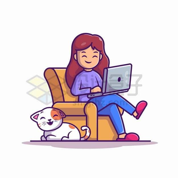 MBE风格坐在沙发上玩电脑的女孩脚边趴着一只猫咪png图片素材