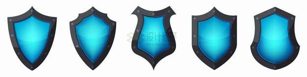 5款黑色金属边框蓝色水晶玻璃盾牌形状png图片素材