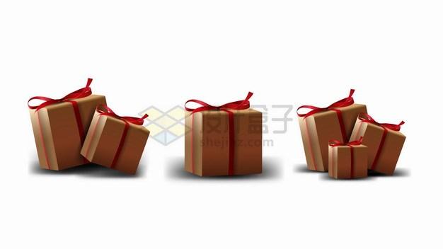3个扎着红色蝴蝶结的礼物盒纸箱子png图片素材 生活素材-第1张