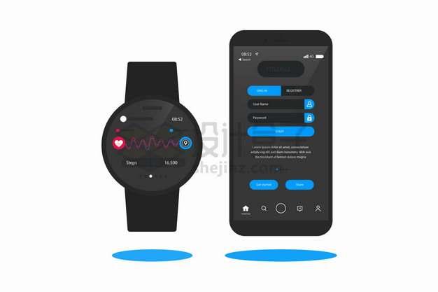 圆形智能手表和手机上显示的健身跑步计步APP界面png图片素材