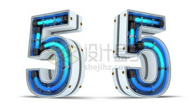 C4D风格蓝色霓虹灯管3D立体数字五5艺术字体505502psd/png图片素材