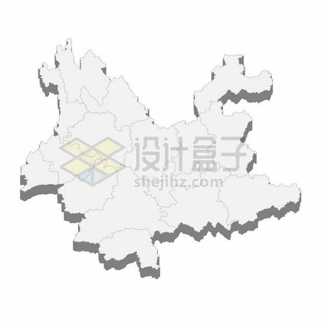 云南省地图3D立体阴影行政划分地图872207png矢量图片素材