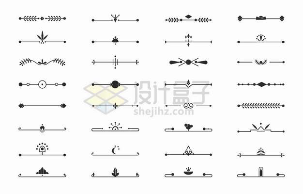 32款各式复古花纹线条分割线png图片素材