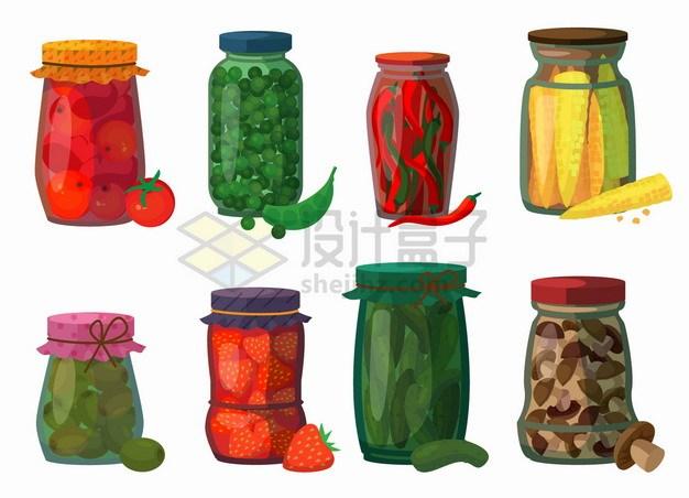 酱黄瓜酱番茄辣椒酱等美味泡菜蔬菜水果酱png图片素材 生活素材-第1张