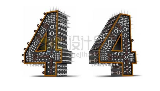 C4D风格尖刺黑色3D立体数字四4艺术字体133931psd/png图片素材