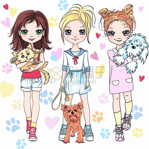 3款卡通二次元美少女抱着猫咪遛狗抱着狗狗png图片素材 人物素材-第1张