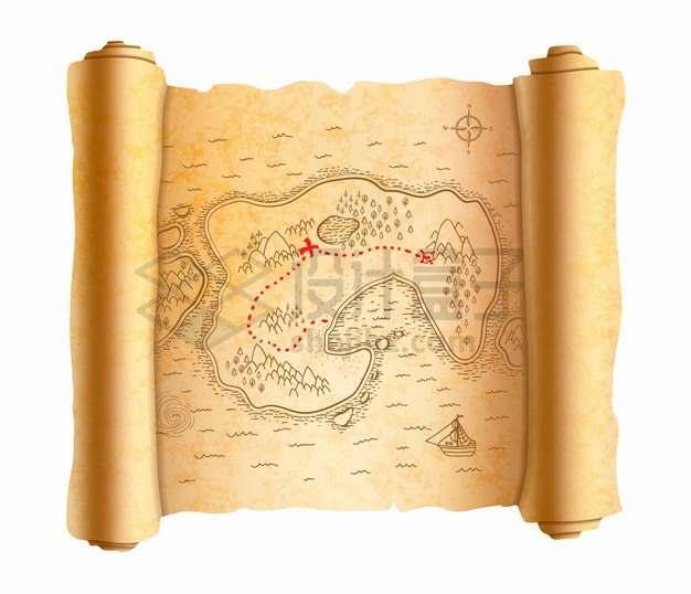 展开的复古卷轴寻宝图手绘地图png图片素材