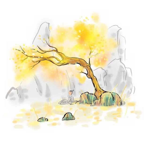 秋天在枯黄的大树下打坐的古人彩色水墨画插画652938png图片素材