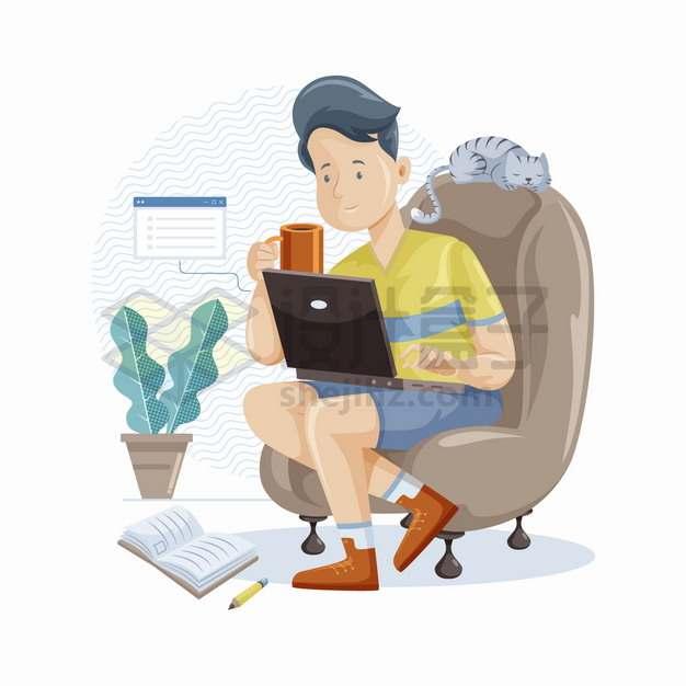 卡通男人坐在沙发上喝咖啡玩电脑记笔记png图片素材