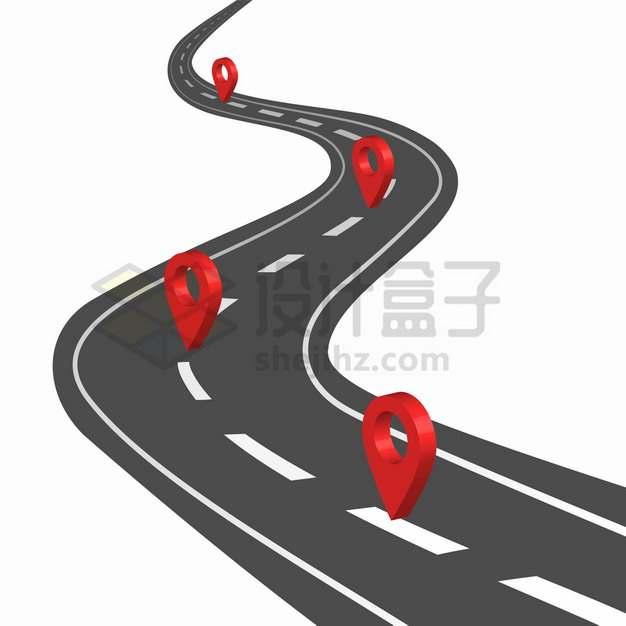 通向远方的马路和上面红色的定位标志png图片素材548064