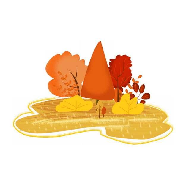 秋天金黄色的草地和红色的树林彩色插画631902png图片素材