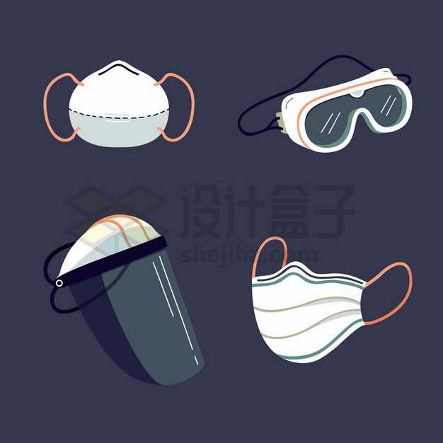 N95口罩护目镜防护面罩和一次性医用口罩等医疗用品png图片素材