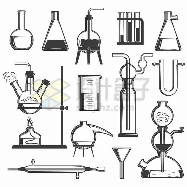 平底烧瓶锥形瓶试管量杯蒸馏烧瓶酒精灯启普发生器等化学实验仪器手绘插画png图片素材