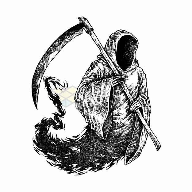拿着镰刀的死神手绘素描插画png图片素材