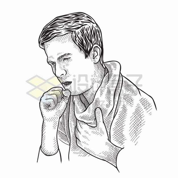 生病握拳咳嗽的男人手绘素描插画png图片素材