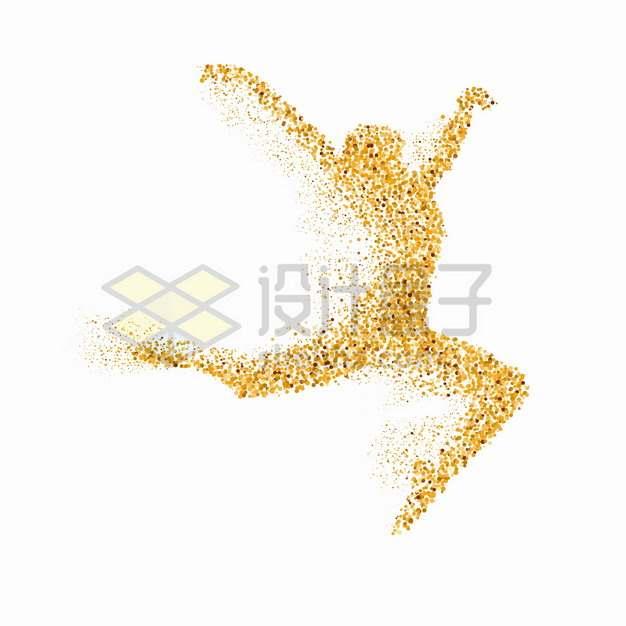 黄褐色圆点组成的跳舞的女人芭蕾舞蹈png图片素材