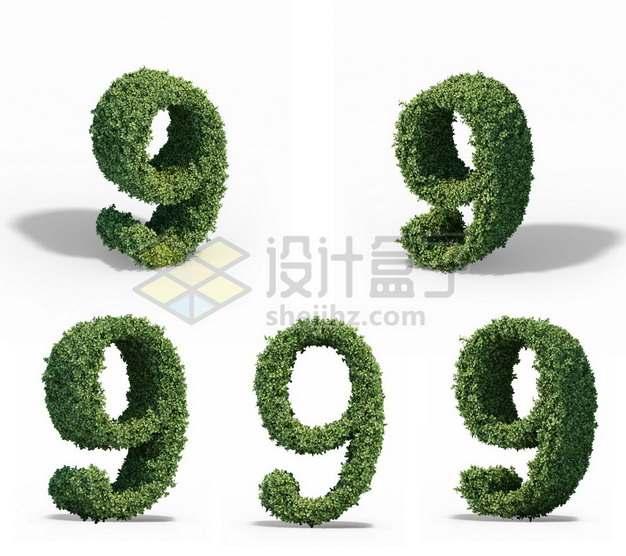 5个不同角度的植物修剪造型数字9艺术字体997512psd/png图片素材