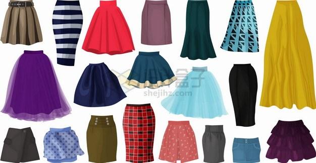 长裙包臀裙纱裙热裤等女性裙子时装png图片素材 生活素材-第1张