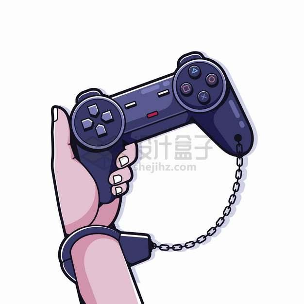 戴着手铐拿着游戏手柄游戏上瘾png图片素材