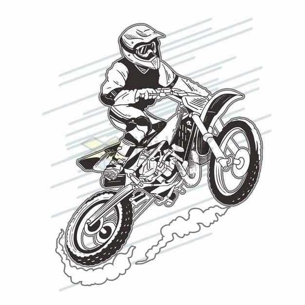 越野摩托车特技表演黑白色手绘漫画插画png图片素材