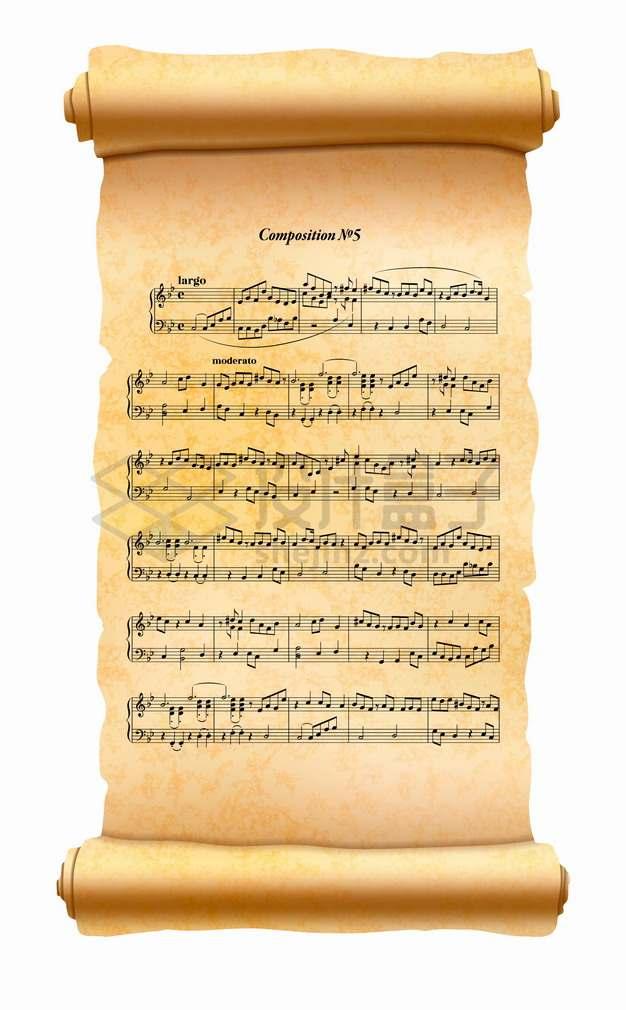 展开的复古羊皮纸草纸卷轴上的音乐乐谱png图片素材
