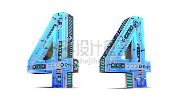 C4D风格蓝色机械3D立体数字四4艺术字体853161psd/png图片素材
