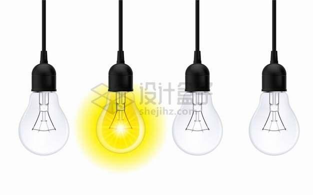 4个电灯泡和发黄光的白炽灯png图片素材