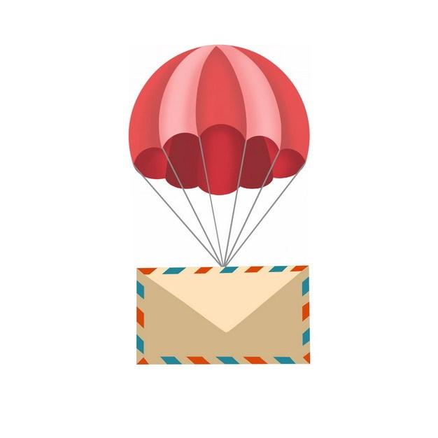 红色降落伞吊着信封扁平插画430037png图片素材 漂浮元素-第1张
