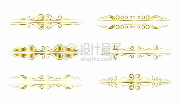 6款金色复古花纹线条装饰png图片素材12575454