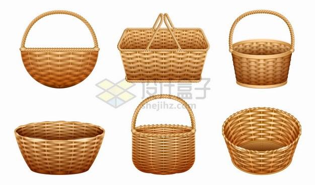 6款编制竹篮野餐篮子柳条篮png图片素材 生活素材-第1张