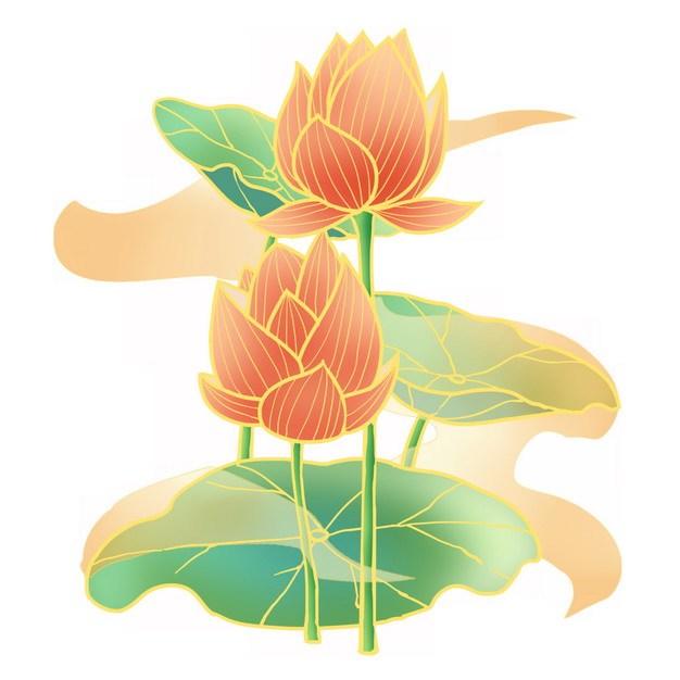金线风格盛开的荷花荷叶传统插画461393png图片素材 生物自然-第1张