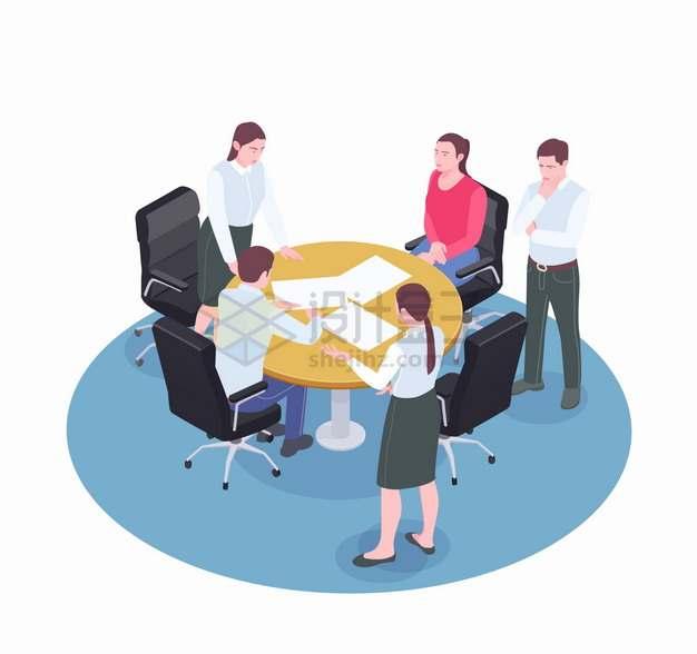 商务人士围在圆桌前开会讨论问题扁平插画png图片素材