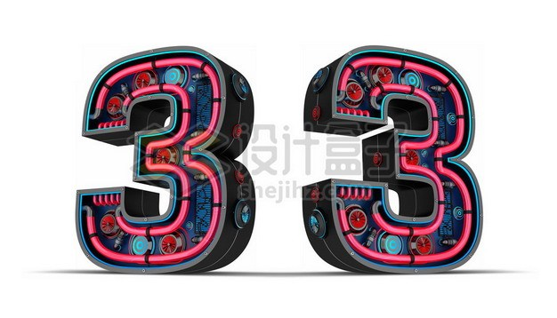 C4D风格红色霓虹灯管3D立体数字三3艺术字体470814psd/png图片素材 字体素材-第1张