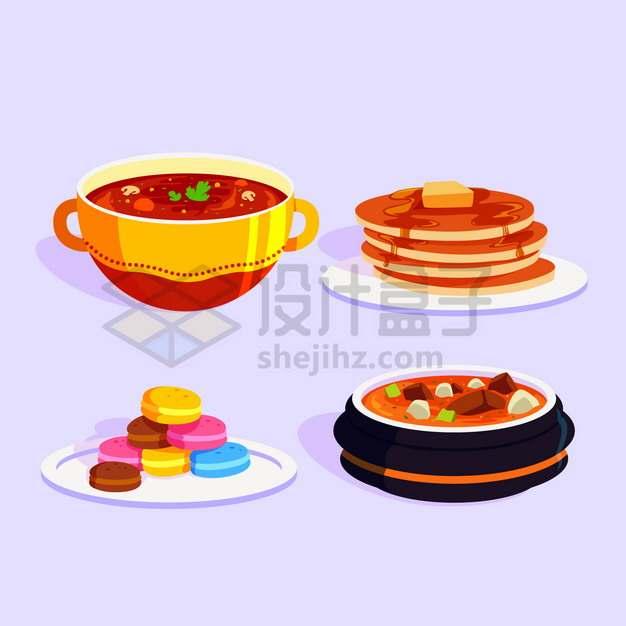 4款番茄汤薄脆圆饼夹心饼干牛腩汤等美味美食png图片素材