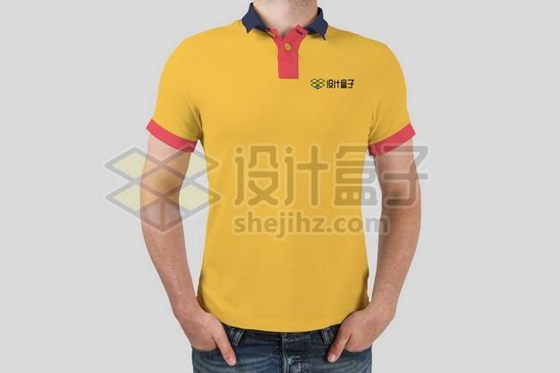 黄色T恤POLO衫上的标志logo样机119155psd/png图片素材 样机-第1张
