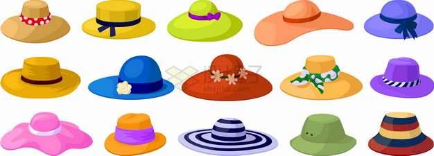 15款炎炎夏日夏天女式草帽太阳帽遮阳帽子png图片素材