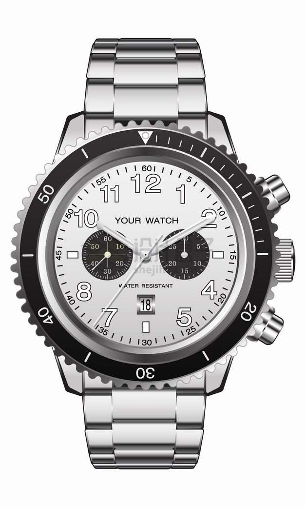 银色金属表带的机械手表男表png图片素材