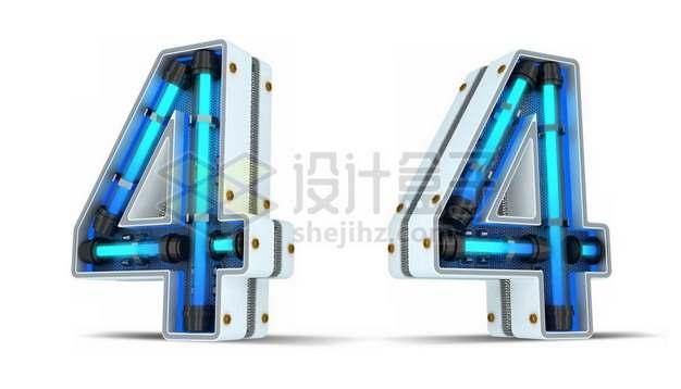 C4D风格蓝色霓虹灯管3D立体数字四4艺术字体209806psd/png图片素材