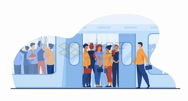 乘坐地铁上班通勤的人群png图片素材